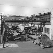 Image of B+W copy photo of storage yard at Ferguson Propeller Works, Hoboken, March, 1966. - Print, Photographic