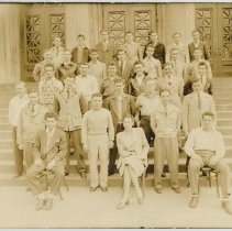 Image of Black-and-white sepia-tone group photo of veteran students in attendance at A.J. Demarest High School, February to June, 1947. - Print, Photographic