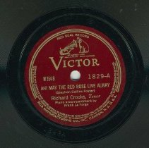 Image of Record: Ah! May the Red Rose Live Alway (A side); De Camptown Races (B side). By Stephen Foster.Vocal: Richard Crooks, tenor. - Record, phonograph