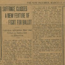 "Image of Newspaper clipping from ""The New Inquirer,"" March 13, 1915. - Newspaper"