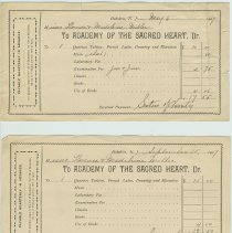 Image of Six receipts from the Academy of the Sacred Heart for paid tuition of Misses Florence and Madeline Miller, Hoboken, 1907-1909. - Receipt