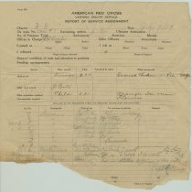 Image of Form: American Red Cross, Canteen Escort Service, Report of Service Assignment, July 9, 1919. - Documents