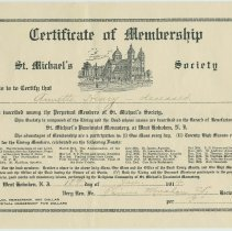 Image of Certificate of Membership in the St. Michaels Society, West Hoboken, N.J.,  for Annette Henry, deceased, Jan. 14, 1914. - Certificate, Membership