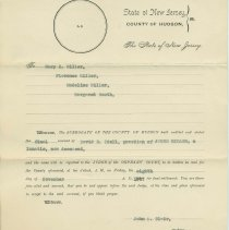 Image of Legal notice of Orphans Court regarding estate of James Miller, Oct. 10, 1907, to Mary H. Miller, Florence Miller, Madeline Miller, Margaret Booth. - Document, Legal