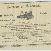 Image of Certificate of Membership in the St. Michaels Society, West Hoboken, N.J., for Francis P. Markie, Oct. 10, 1916. - Certificate, Membership