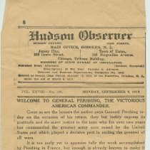 Image of Newspaper clipping, Hudson Observer, Monday, Sept. 8, 1919. Editiorial welcoming General John J. Pershing. - Newspaper