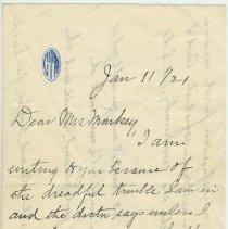 Image of Letter from Rose Guinan to Mrs. F. Markey, 716 Bloomfield St., Hoboken, N.J. Jan. 11, 1921 - Letter