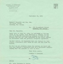 Image of Type carbon signed September 29, 1961 to Bernard Vezzetti and Son, Inc. from Connell & Corridon requesting a receipted bill. - Correspondence