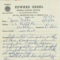 Image of receipt 2 Grehl 1963