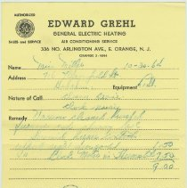 Image of receipt 5 Grehl 1964