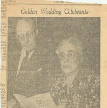 Image of Newspaper clipping re 50th Anniversary of Mr. & Mrs. John G. Stasse, 715 Bloomfield St., Hoboken, April 27, 1957. - Newspaper