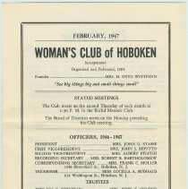 "Image of In Memoriam notice for Mrs. Frank P. Markey, mother of Florence & Madeline Miller, in ""The Courier "" February 1947, Women's Club of Hoboken. - Newsletter"