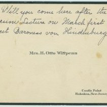 Image of Engraved calling card of Mrs. H. Otto Wittpenn with holographic ink note, Hoboken, no date, ca. 1925. - Card, Calling