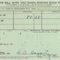 Image of Eleven City of Hoboken property tax bills from 1949-1973 to the Estate of James Miller for 716 Bloomfield St., Hoboken. - Bill, Tax