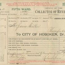 Image of Nine City of Hoboken property tax bills from 1901-1919 to James Miller and the Estate of James Miller for 716 Bloomfield St., Hoboken. - Bill, Tax