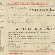 Image of Nine City of Hoboken property tax bills from 1901-1919 to James Miller and the Estate of James Miller for 718 Bloomfield St., Hoboken. - Bill, Tax
