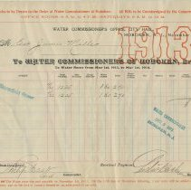 Image of Three City of Hoboken water bills from 1913, 1916, 1917 to the Estate of James Miller for 716 & 718 Bloomfield Sts., Hoboken. - Bill, Water