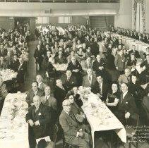 Image of B+W group photo of a testimonial dinner for Moe Aronsberg, Union Club, Hoboken, Feb. 28, 1951. - Print, Photographic