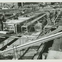 Image of B+W photo of the construction of Pier 5 (formerly Pier 14) at the Bethlehem Steel Shipyard, Hoboken Division, January 30, 1957. - Print, photographic
