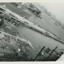 Image of B+W photo of the construction of Pier 5 (formerly Pier 14)at the Bethlehem Steel Shipyard, Hoboken Division, Sept. 18, 1957. - Print, photographic