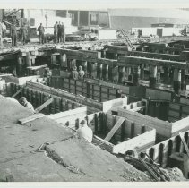 Image of B+W photo of the construction of Pier 5 (formerly Pier 14) at the Bethlehem Steel Shipyard, Hoboken Division, Nov. 27, 1957. - Print, photographic