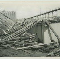 Image of B+W photo of the reconstruction and extension of Pier 15 at the Bethlehem Steel Shipyard, Hoboken Division, June 20, 1957. - Print, photographic