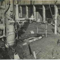 Image of B+W photo showing damage on the main deck on unidentified vessel at the Bethlehem Steel Shipyard, Hoboken Division, no date, ca. 19 - Print, Photographic