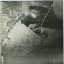 Image of B+W photo of exterior view of damaged hull plates on unidentified vessel at the Bethlehem Steel Shipyard, Hoboken Division, no date, ca. 19 - Print, Photographic