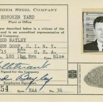 Image of Bethlehem Steel Company, Hoboken Yard, Hoboken, 17 employee identification file cards, Hoboken, ca. 1938-1950. - Documents