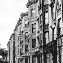 Image of B+W photo of the exterior of buildings, 1000-1026 Hudson St., Hoboken, N.J., no date (ca. 1968-1972). - Print, photographic