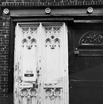 Image of B+W photo of the exterior doors of 609 Court St.(?), Hoboken, N.J., no date (ca. 1968-1972). - Print, photographic