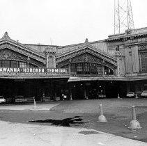 Image of B+W photo of the Erie-Lackawanna Hoboken Terminal, Hoboken, no date (ca. 1968-72). - Print, photographic