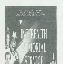 Image of Program for Interfaith Memorial Service, Sept. 11, 2002, Pier A Park, Hoboken. - Program