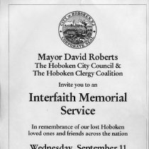 Image of Poster for Interfaith Memorial Service, Wednesday, Sept. 11, 2002, Pier A Park, Hoboken. - Poster