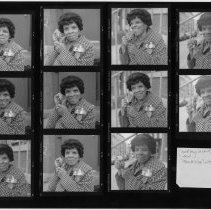 Image of Black-and-white contact print of 11 images of Jeanne Valentin, Hoboken, 1998. - Print, photographic