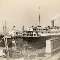 Image of Image: S.S. Colorado and the S.S. Cherokee in dry docks, United Dry Dock, Fletcher Plant, Hoboken, N.J., no date, ca. 1932-39. - Print, photographic