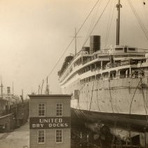 Image of Image: S.S.Monarch of Bermuda, Furness-Bermuda Line, in dry dock at United Dry Docks, Morse Plant, Brooklyn, N.Y. no date, ca. 1932-1939. - Print, photographic