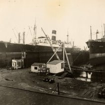 Image of Image: S.S. Excalibur and the S.S. American Traveler in dry docks, United Dry Dock, Fletcher Plant, Hoboken, N.J., 1935. - Print, photographic