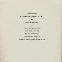 Image of Submission (report) to Hoboken Historical Society (sic) for Historical Designation of 3 buildings on the campus of Stevens Institute of Technology. - Documents