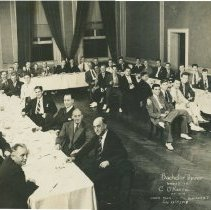 "Image of B+W 11"" x 17"" group photo of Cornelius O'Keefe's Bachelor Dinner at the Union Club, Hoboken, N.J., July 28, 1938. - Print, Photographic"