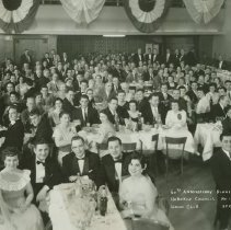 """Image of B+W 10"""" x 20"""" group photo of Knights of Columbus, Hoboken Council 159, 60th Anniversary Dinner, Union Club, Hoboken, April 21, 1956. - Print, Photographic"""