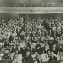 """Image of B+W 10"""" x 20"""" group photo of celebration of the 20th Anniversary of the Ordination of the Rev. Thomas J. Hession, Union Club, Hoboken, May 23, 1956. - Print, Photographic"""