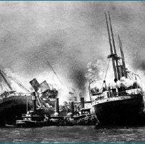 Image of Main & Bremen burning stern