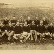 Image of Sepia-tone group photograph of the Hoboken Lacrosse Club, no place (Hoboken?), 1913. - Print, Photographic