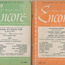 Image of Two issues of the magazine, Encore. May 1942; June 1942. Published by the Encore Press. Editorial and general offices at 77 River St., Hoboken. - Periodical