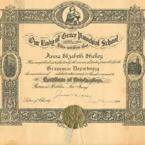 Image of Diploma: Our Lady of Grace Parochial School, Grammar Department, Certificate of Graduation given to Anna Elizabeth Shelley, Hoboken, June 19, 1932. - Diploma