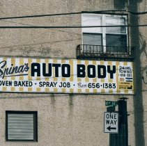Image of Color photo of the sign of Spina's Auto Body, corner of 15th St. and Park Ave, Hoboken, Jan.3 & 4, 2002. - Print, Photographic
