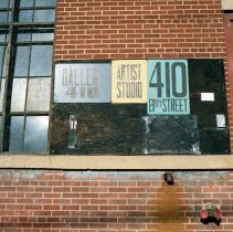 Image of Color photo of 3 signs at 410 8th St.: Gallery 410, Artist Studio, 410 8th Street, Hoboken, Jan. 3 & 4, 2002. - Print, Photographic