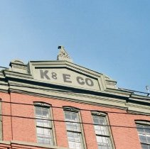 Image of Color photo of painted sign on building: K & E Co. (Keuffel & Esser), Third St. between Adams and Grand Sts., Hoboken, Jan. 3 & 4, 2002. - Print, Photographic