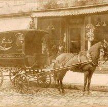 Image of Sepia-tone photo of the horse-drawn delivery van of Joseph La Paglia, Florist, Hoboken, no date, ca. 1900. - Print, Photographic